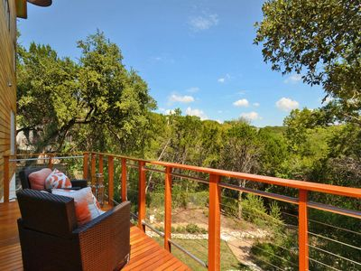 Relaxing main level deck overlooking the Austin greenbelt.