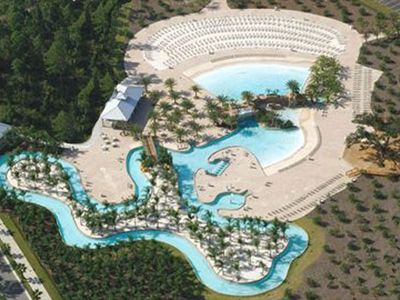 Aerial photo of The Oasis pool area