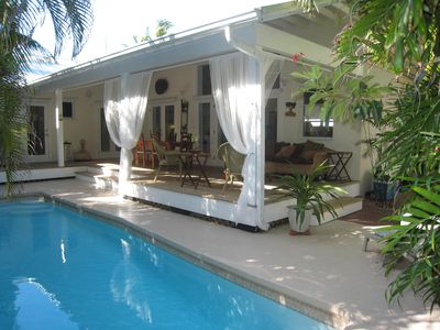 Key West house rental - Six French Doors Lead to Open Veranda and Private Heated Pool