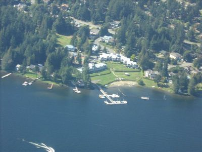 Shawnigan Lake condo rental - Arial view of Shawnigan Beach Resort
