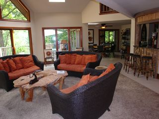 Big Canoe house photo - Comfortable huge den open to kitchen and dining areas with mtn/deck views/access