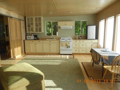 Vashon Island cabin rental - Great room, movable furniture, make it your own! Water views along entire front