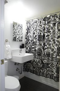 Bathroom With Shower Curtain Closed