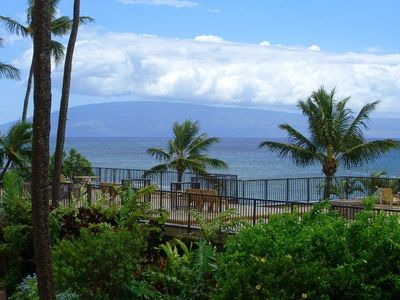 View of the ocean , the island of  Lanai and the sundeck from our lanai(deck)