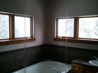 view from inside master shower  , watch it snow with mountain view in privacy...