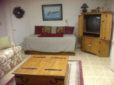 Family Room/ 4th Bedroom Sleep Sofa, Captains Bed, Entertainment Center