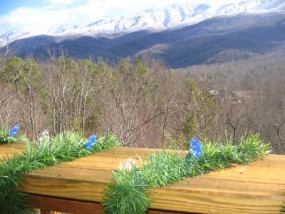 Snow on the Smoky Mountains. View from this Gatlinburg cabin.