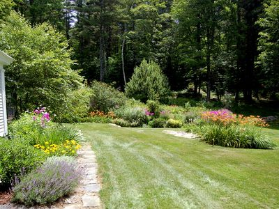 Pretty perennial gardens in the summer