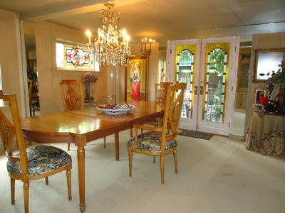 Dining room with doors that open to the patio.