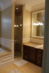 Water Mill villa photo - First floor master bathroom. with jacuzzi, stone wall shower, his and her sink
