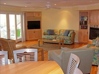 Virginia Beach house photo - Living Room w/ Theater Sound HD TV - Deck - Glass Elevator Stop