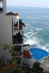 Puerto Vallarta villa photo - View from Garden with Glass Elevator