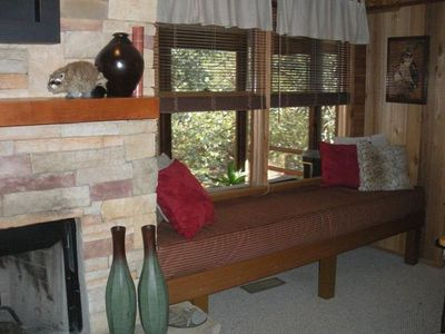 Hayesville cabin rental - Comfy window seat overlooking the creek - everyone's favorite spot.