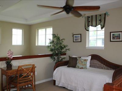 Waikoloa Beach Resort condo rental - Upstairs loft with desk and trundle bed. Windows have been tinted to reduce heat