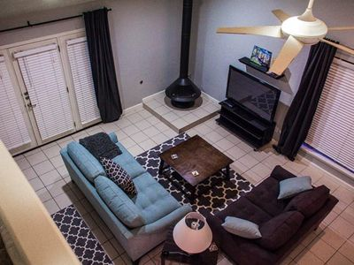 Living room from top of the stairs