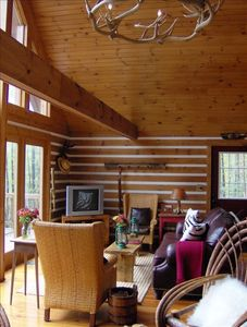 Great room with beams & tongue & groove knotty pine ceiling