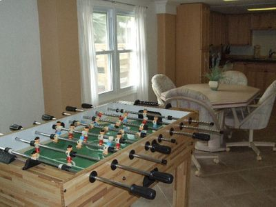 Fort Myers Beach house rental - 5 in 1 game table and dining area in downstairs apartment