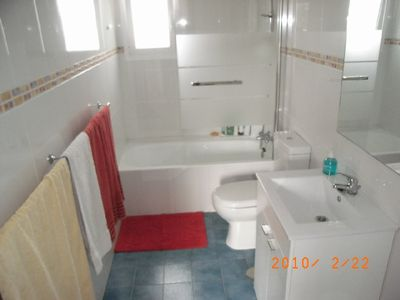 The main family bathroom with bath, shower, wc and basin