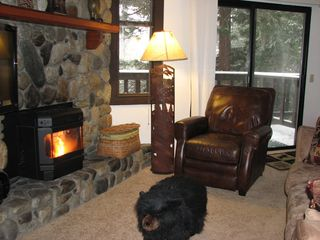 Mammoth Lakes condo photo - Put your feet up on the bear foot stool and enjoy the fire