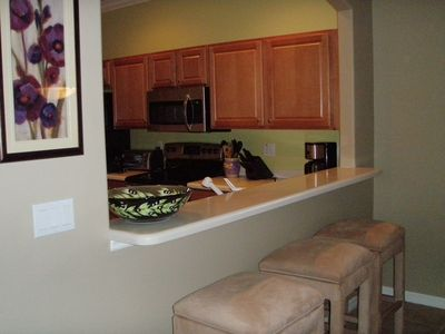Fort Myers house rental - Breakfast Bar with three high end swivel bar stools