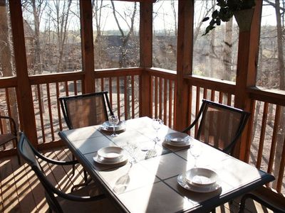 View woodland scenery while you dine on the screened in deck.