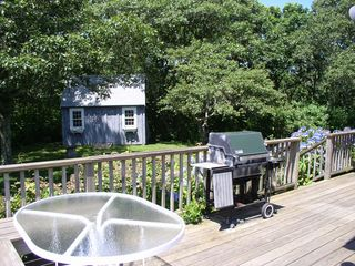 Chilmark house photo - part of the west deck and a shed for your bike storage