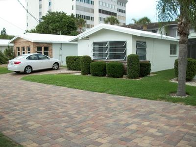 Front side of unit 32 with private driveway, no stairs