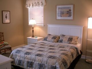 Roomy guest BR, queen bed, TV, clock radio, large closet with custom shelving