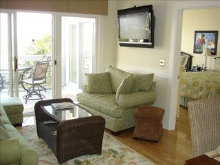Seabrook Island condo photo - Living area with ocean view and HDTV