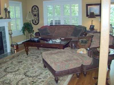 Asheville house rental - sofa in upstairs family room