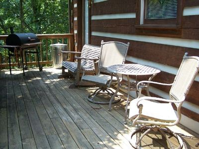 Back upper deck with charcoal grill