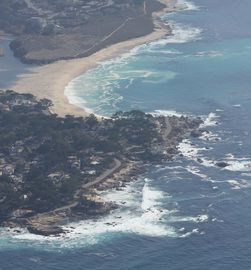 Monterey condo rental - View flying into Monterey...Carmel River joining the Pacific