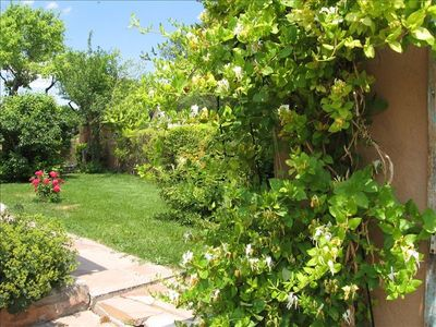 Lush gardens surround the casita