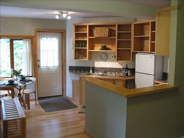 Nelson house rental - Fully equipped kitchen and dining area.