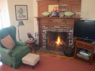 Kennebunk Beach house photo - Turret Living Room Fireplace