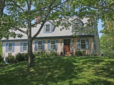 Front view of house-classic 3/4 Cape Cod.