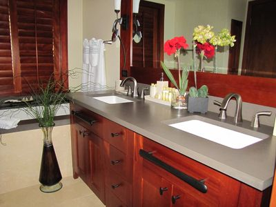 Master bathroom with luxurious spa like amenities and Hotel Collection towels