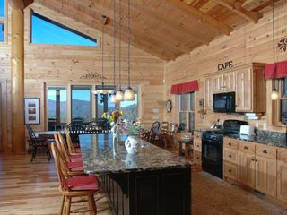 Clayton cabin photo - Kitchen & Dining area - mountains can bee seen from window