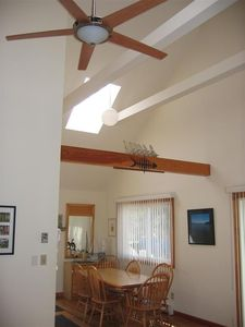 Our three bedroom dining room showing cathedral ceilings and skylight.