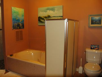 Walk in shower, jetted tub and water closet.