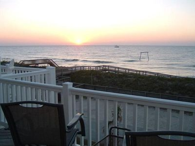 Sunrise view from top deck off living room & kitchen-100 yds to ocean.