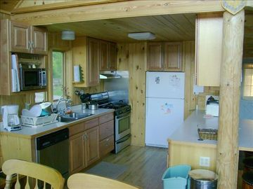 Kitchen at Timber Trail Retreat also has dishwasher, microwave, small appliances