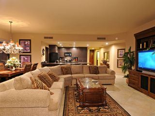 "Puerto Penasco condo photo - Great room floorplan, sectional sofa, 52"" LCD TV with surround sound"