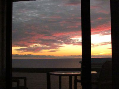 Sunset from one of the 2 large balconies.