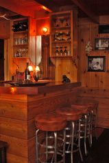 Lake Arrowhead cabin photo - Bar w/Stools sink blender, glasses for margaritas, martini's, wine, rocks shot
