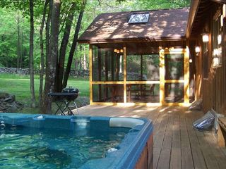 Woodstock cabin photo - Rear Deck, Hot Tub and Screened Porch