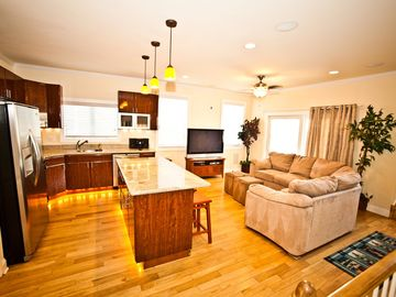 Atlantic City townhome rental - Kitchen and Living Room is Just Incredible! 50' Plasma HDTV with Free HD HBO!