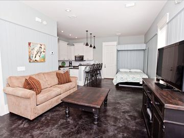 In-law suite, features a queen size Murphy Bed and full kitchen.