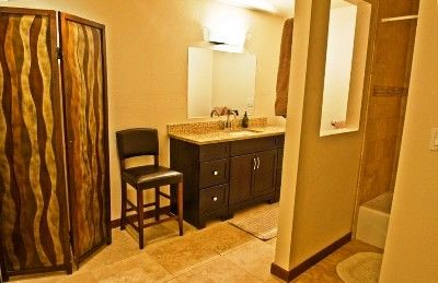 Vanity Area separate from Bathroom, Track Lighting, Granite Countertop