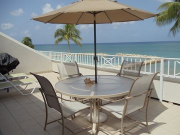 Morning on the patio, wide views of Seven Mile Beach